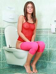 Caprice pissing in toilet & fucking guy